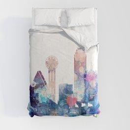 Blue Watercolor Dallas skyline design Comforters
