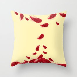 LAZY RED FEATHERS FLOATING DOWN ART Throw Pillow
