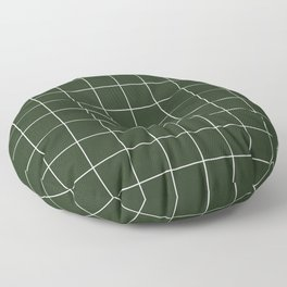 Small Grid Pattern - Deep Green Floor Pillow