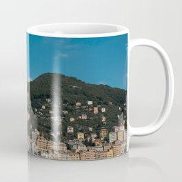Pastel houses with colorful boats | Horizontal view, Italian sky line | Amalfi coast travel photography | Pastel sea side in, Italy | Art Print Coffee Mug