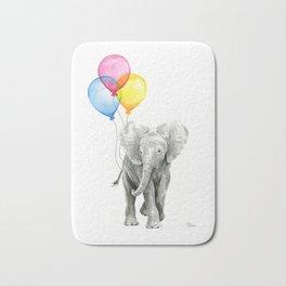 Baby Elephant with Balloons Nursery Animals Prints Whimsical Animal Bath Mat