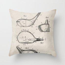 Golf Driver Patent - Golf Art - Antique Throw Pillow