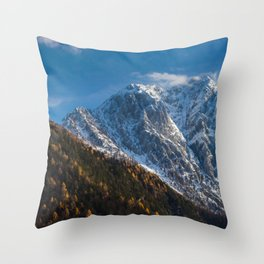 Autumn and winter at snowy mountains Throw Pillow