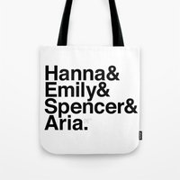 pretty little liars Tote Bags featuring Pretty Little Liars by MLauxDesign