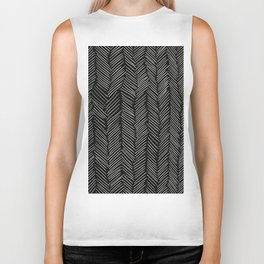 Herringbone Cream on Black Biker Tank