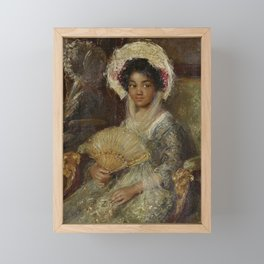 African American Girl Antique Victorian Oil Painting Framed Mini Art Print