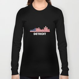 Detroit City American Flag Shirt, 4th of July shirts Long Sleeve T-shirt