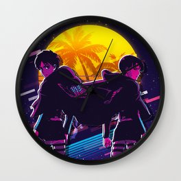 Eren attack on titan anime 80s retro vintage art Wall Clock