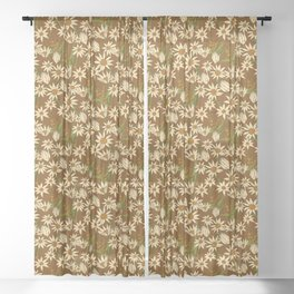 Flannel Flower Fields Sheer Curtain