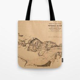 Map of Potomac River 1838 Tote Bag