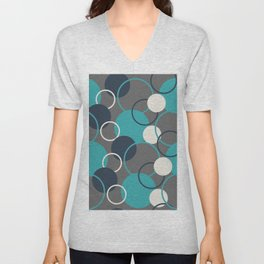 Teal Turquoise Aqua Dark Navy Blue and Alabaster White Solid Color Circles and Rings Pattern - Aquarium SW 6767 Unisex V-Neck