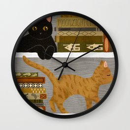 cat bookshelf Wall Clock