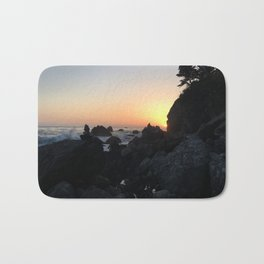 Sunset on a Big Sur Beach with Crashing Waves Bath Mat