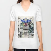 spirited away V-neck T-shirts featuring Spirited Away by Sandra Ink