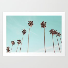 Palm Trees Teal Gold Art Print