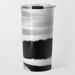 Frozen Lake and Forest in Sequoia and Kings Canyon National Park (Black and White) Travel Mug