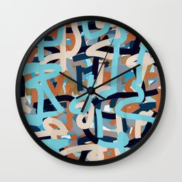 layered paint lines art Wall Clock