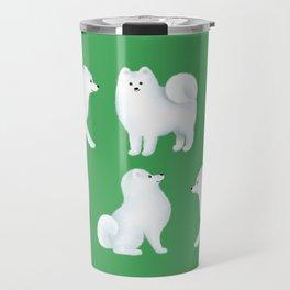 Samoyed Pattern (Green Background) Travel Mug