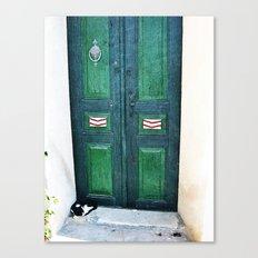 Old Green Door Canvas Print