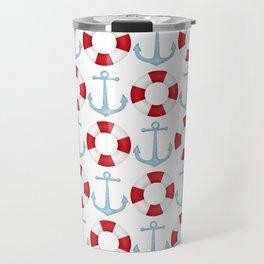 Anchors And Buoys Pattern Travel Mug