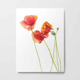 Watercolor Poppies Metal Print