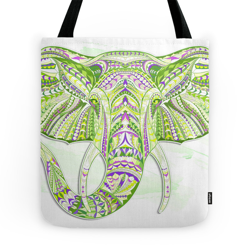 Green Ethnic Elephant Tote Purse by serigraphonart (TBG7758954) photo