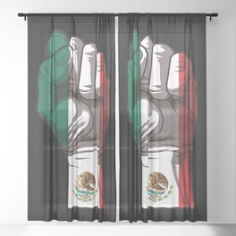 Raised Fist for Mexico | Mexican Flag Sheer Curtain