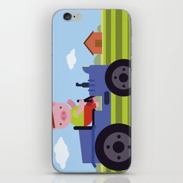 Pig on Tractor iPhone Skin