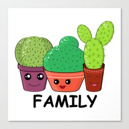 Hilarious family of cacti. Baby and kids style Canvas Print