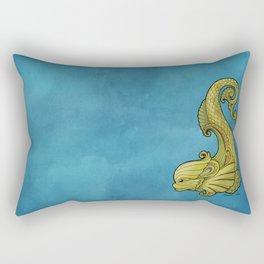 Dive Deep - Gold Dolphins Rectangular Pillow