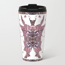 Horned Man V4 cut from Tree Leaf Photo 801 Fractal, with wings and hoofed feet. Travel Mug