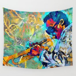 Jazz State of Mind - Colorful Impressionism Miles D. Davis Louis Armstrong Trumpeters Wall Tapestry