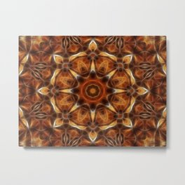 Brown Tan Gold Kaleidoscope Art 9 Metal Print
