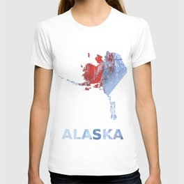 Alaska map outline Red blue steel colorful wash drawing design T-shirt