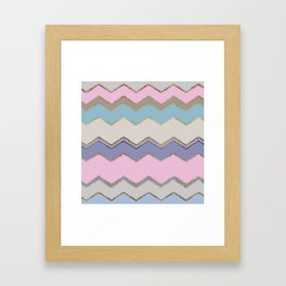 Multi Chevron and Brushed Gold Framed Art Print