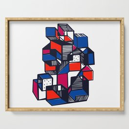 Geometric city pop art Serving Tray