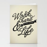 work hard Stationery Cards featuring Work Hard by Sebastián Andaur