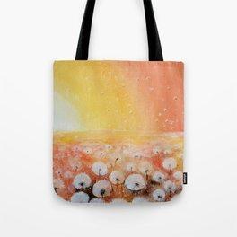 Sunrise and Dandelions, Watercolor Tote Bag