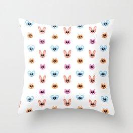 Cute Bunny Rabbit, Mouse and Cat Cartoon Pattern Throw Pillow