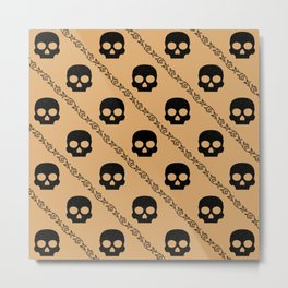 Skulls & Flowers - Beige V2 Metal Print