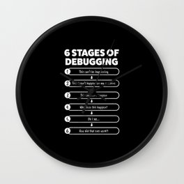 6 Stages Of Debugging | Programmer Gift Wall Clock