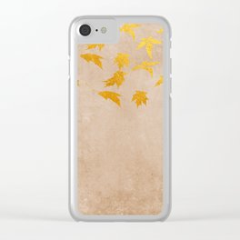 Gold leaves on grunge background - Autumn Sparkle Glitter design #Society6 Clear iPhone Case