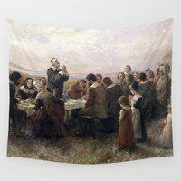 thanksgiving Wall Tapestries featuring First Thanksgiving Vintage Painting by BravuraMedia