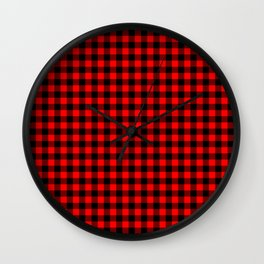 Australian Flag Red and Black Outback Check Buffalo Plaid Wall Clock