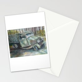 Old green truck in the woods Stationery Cards