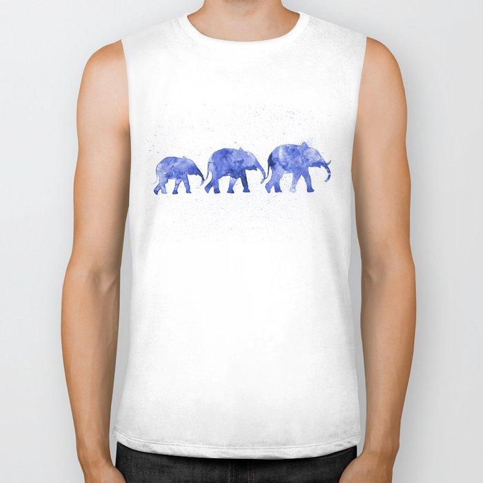 Blue elephants Biker Tank
