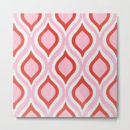 Optical Waves – Pink & Coral Metal Print