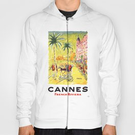 1958 CANNES French Riviera Travel Poster Hoody