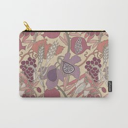 Seven Species Botanical Fruit and Grain in Mauve Tones Carry-All Pouch
