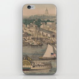 Vintage Pictorial Map of The 6th Street Wharf - Washington DC iPhone Skin